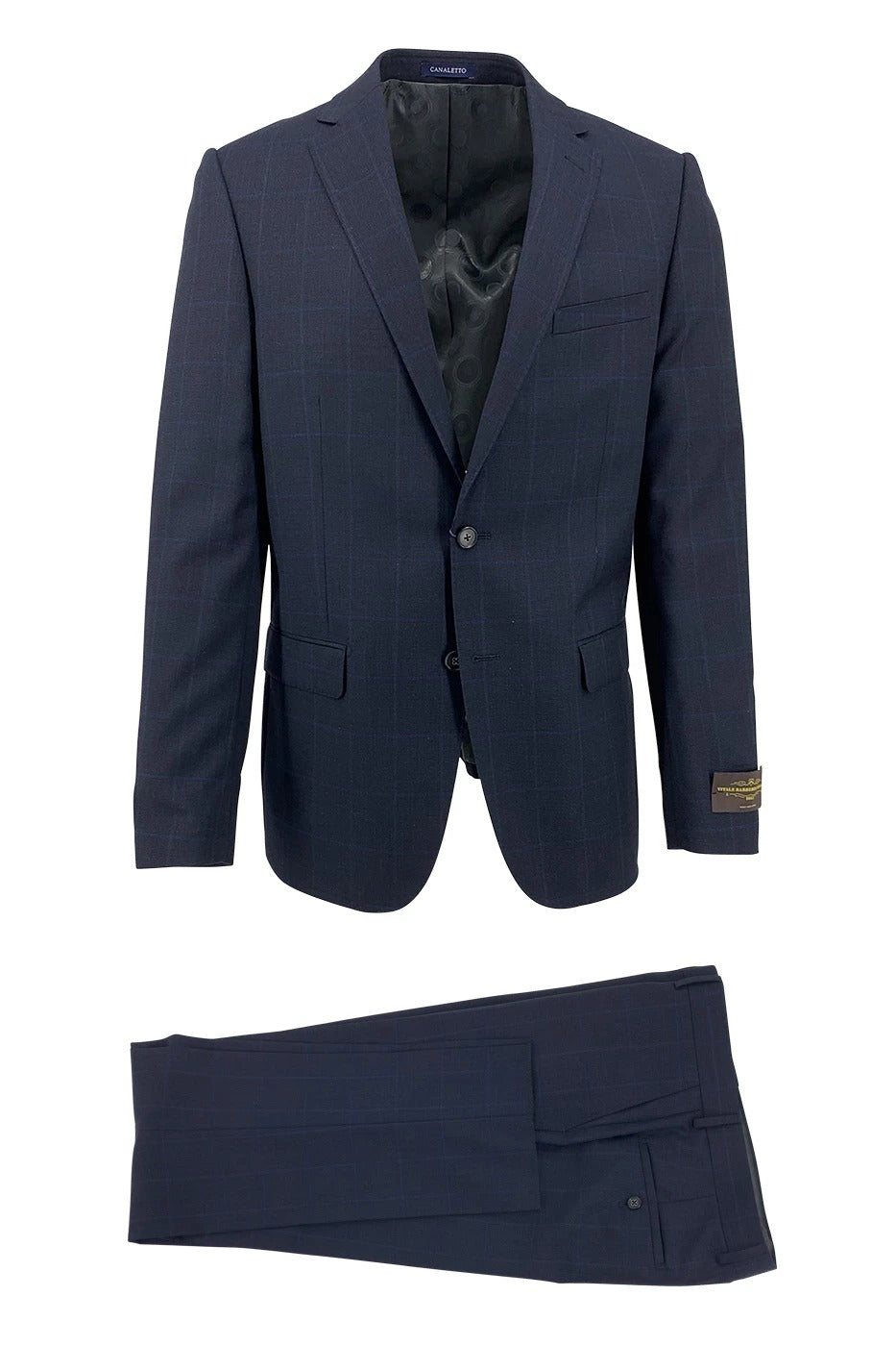 Canaletto Midnight Navy with Blue Windowpane Dolcetto Modern Fit Pure Wool Suit by Vitale Barberis Canonico Cloth CV187.133/2