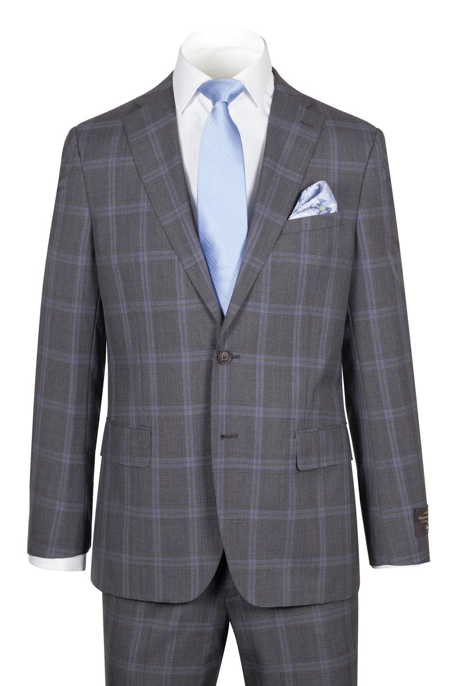 Dolcetto Modern Fit,Gray with Light blue windowpane, Pure Wool Suit by VITALE BARBERIS CANONICO Cloth by Canaletto Menswear CV40.9125/2