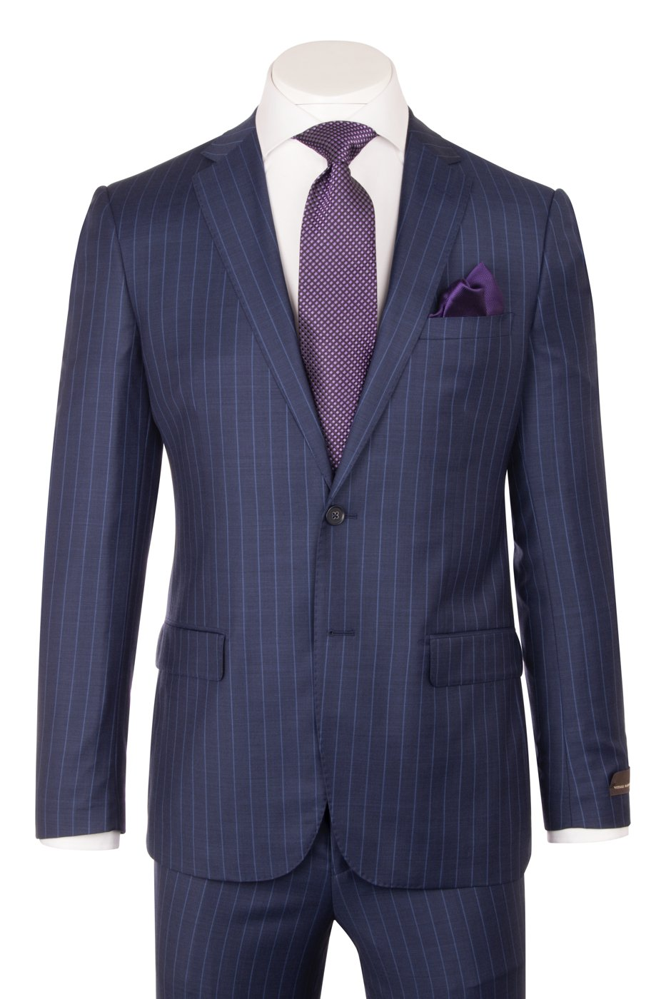 Porto Slim Fit, New Blue with F.Blue Pinstripe, Pure Wool Suit by VITALE BARBERIS CANONICO Cloth by Canaletto Menswear CV9210