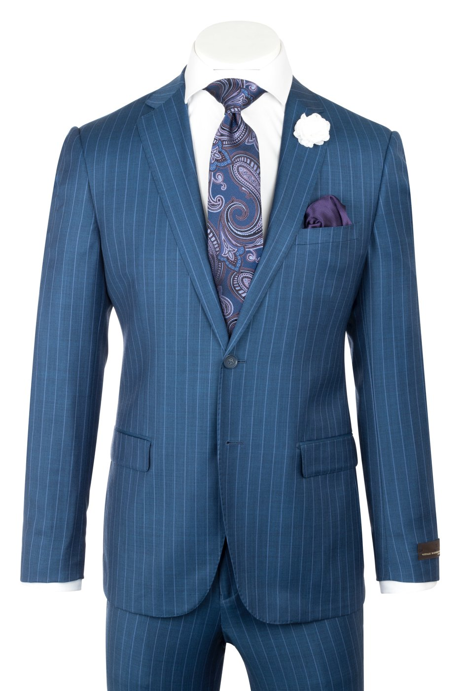 DOLCETTO Modern Fit, Teal Blue with stripe, Pure Wool Suit by VITALE BARBERIS CANONICO Cloth by Canaletto Menswear CV9211