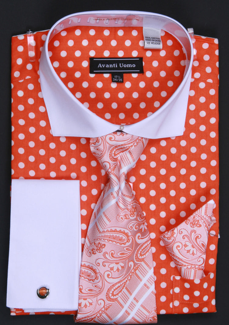 Avanti Uomo French Cuff Dress Shirt DN47M Orange