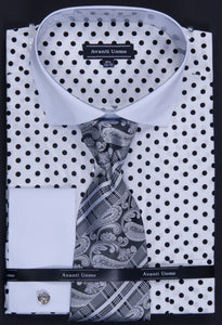 Avanti Uomo French Cuff Dress Shirt DN47M White/Black