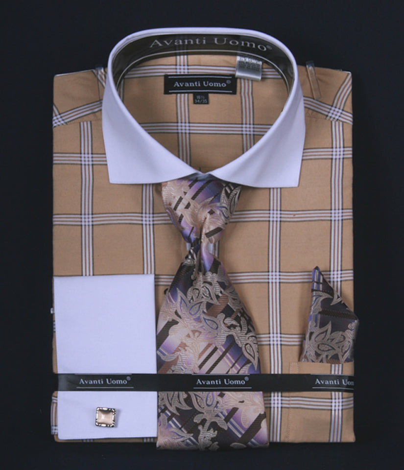 Avanti Uomo French Cuff Dress Shirt DN54M Beige