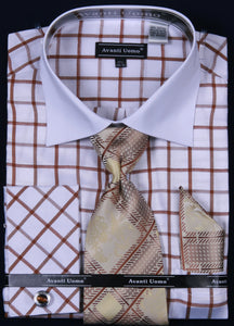 Avanti Uomo French Cuff Dress Shirt DN56M White/Brown