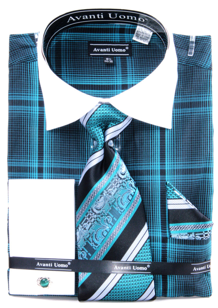 Avanti Uomo French Cuff Dress Shirt DN62M Teal