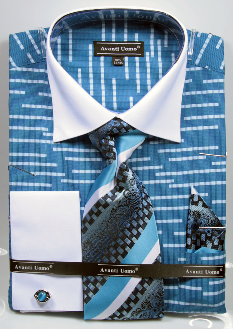 Avanti Uomo French Cuff Dress Shirt DN66M Blue