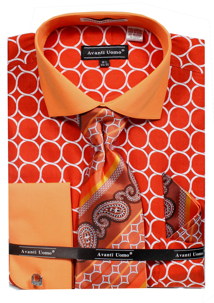 Avanti Uomo French Cuff Dress Shirt DN68M Orange