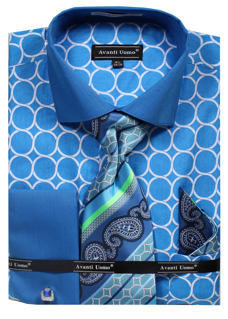Avanti Uomo French Cuff Dress Shirt DN68M Turquoise