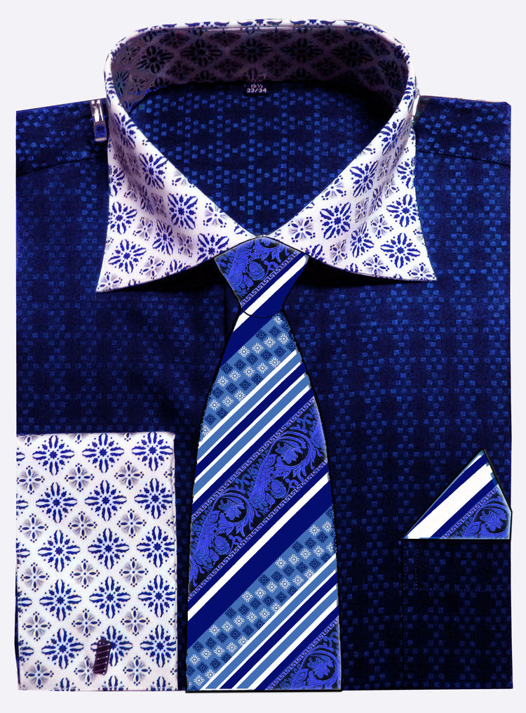Avanti Uomo French Cuff Dress Shirt DN69M Blue