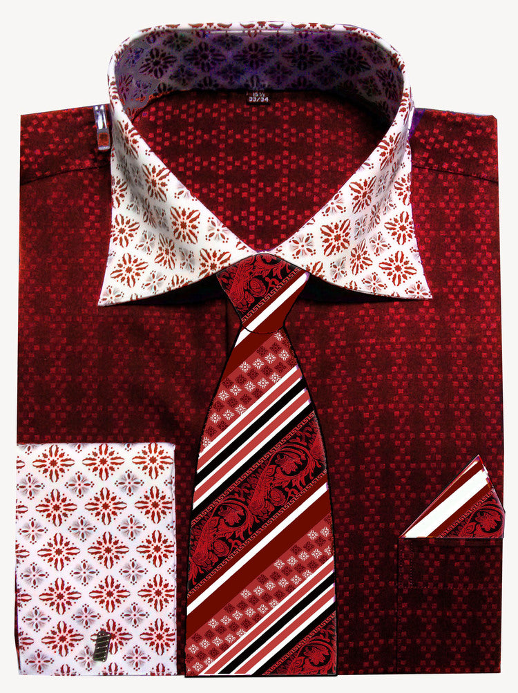 Avanti Uomo French Cuff Dress Shirt DN69M Red