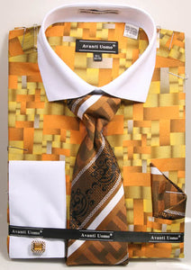 Avanti Uomo French Cuff Dress Shirt DN71M Mustard