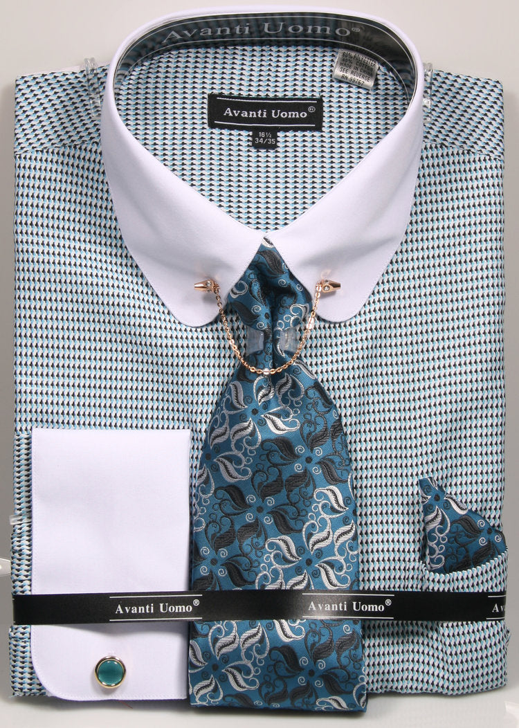 Avanti Uomo French Cuff Dress Shirt DN75M Turquoise