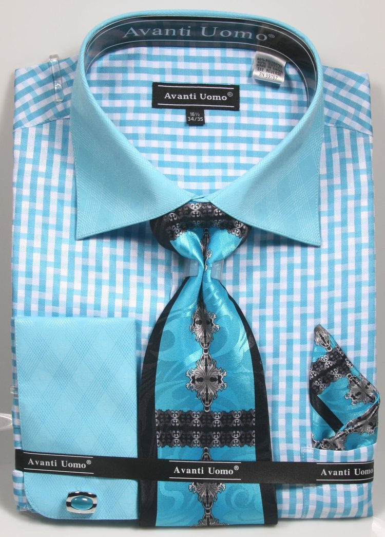 Avanti Uomo French Cuff Dress Shirt DN76M Aqua