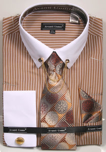 Avanti Uomo French Cuff Dress Shirt DN77M Beige