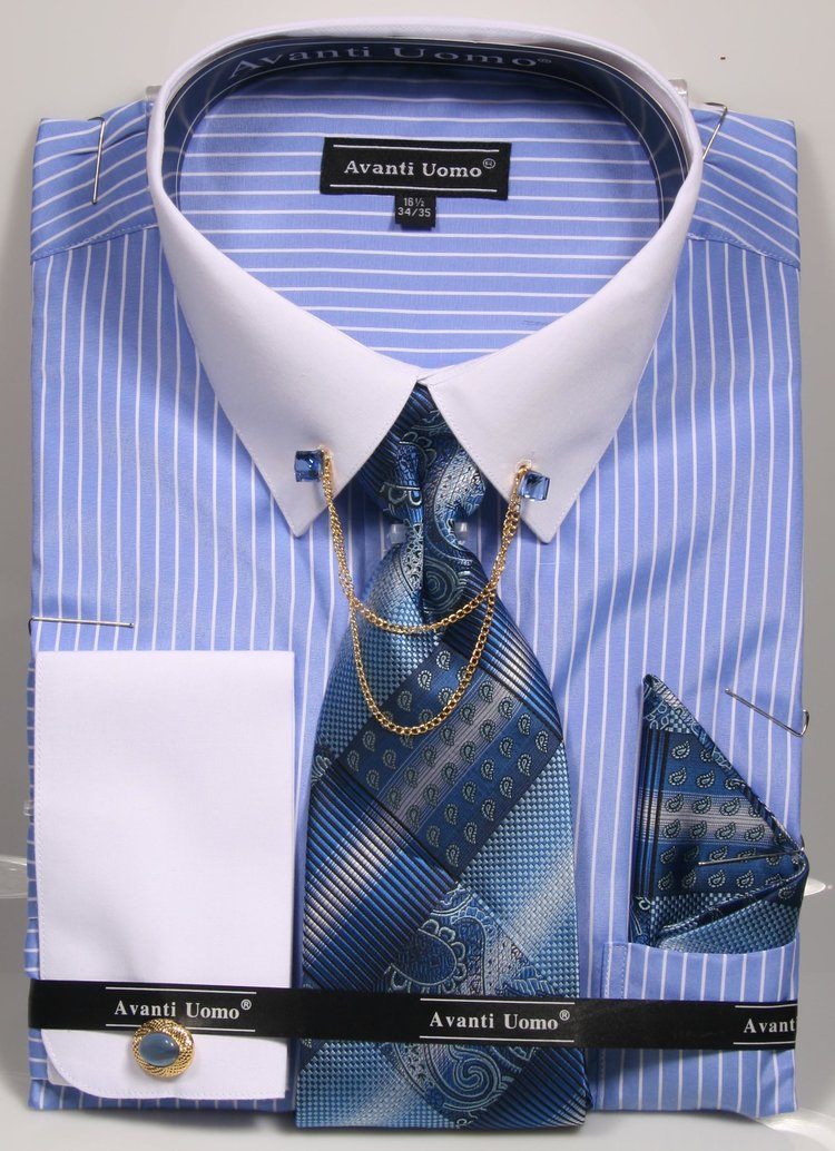 Avanti Uomo French Cuff Dress Shirt DN77M Blue