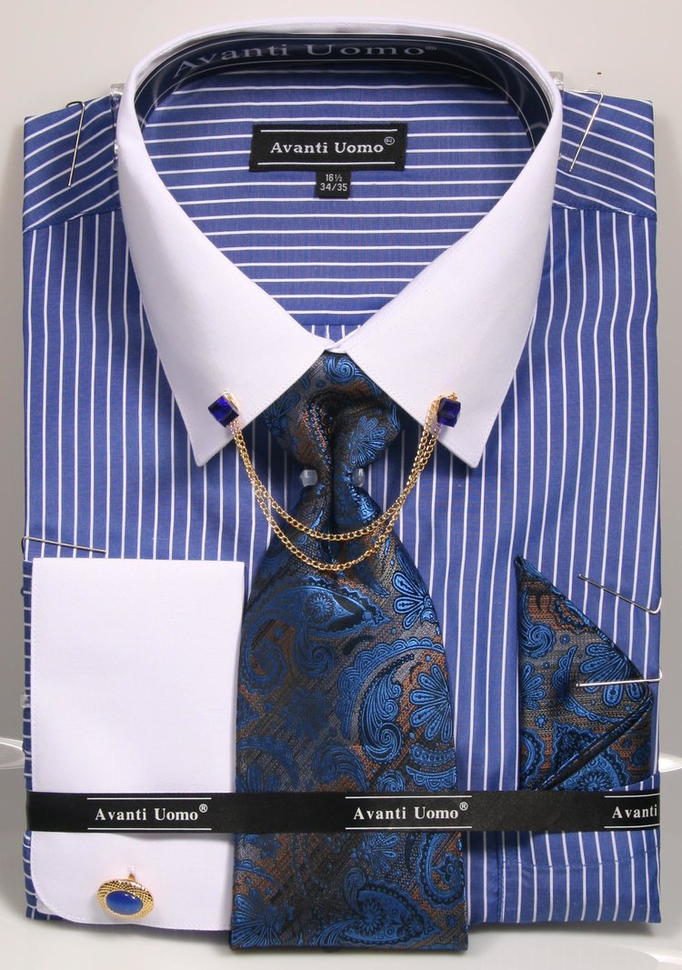 Avanti Uomo French Cuff Dress Shirt DN77M Royal