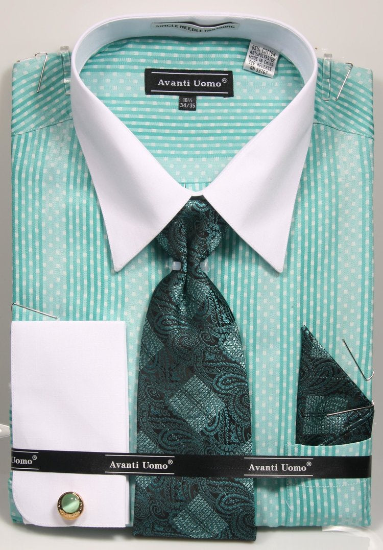 Avanti Uomo French Cuff Dress Shirt DN78M Mint