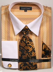 Avanti Uomo French Cuff Dress Shirt DN78M Mustard