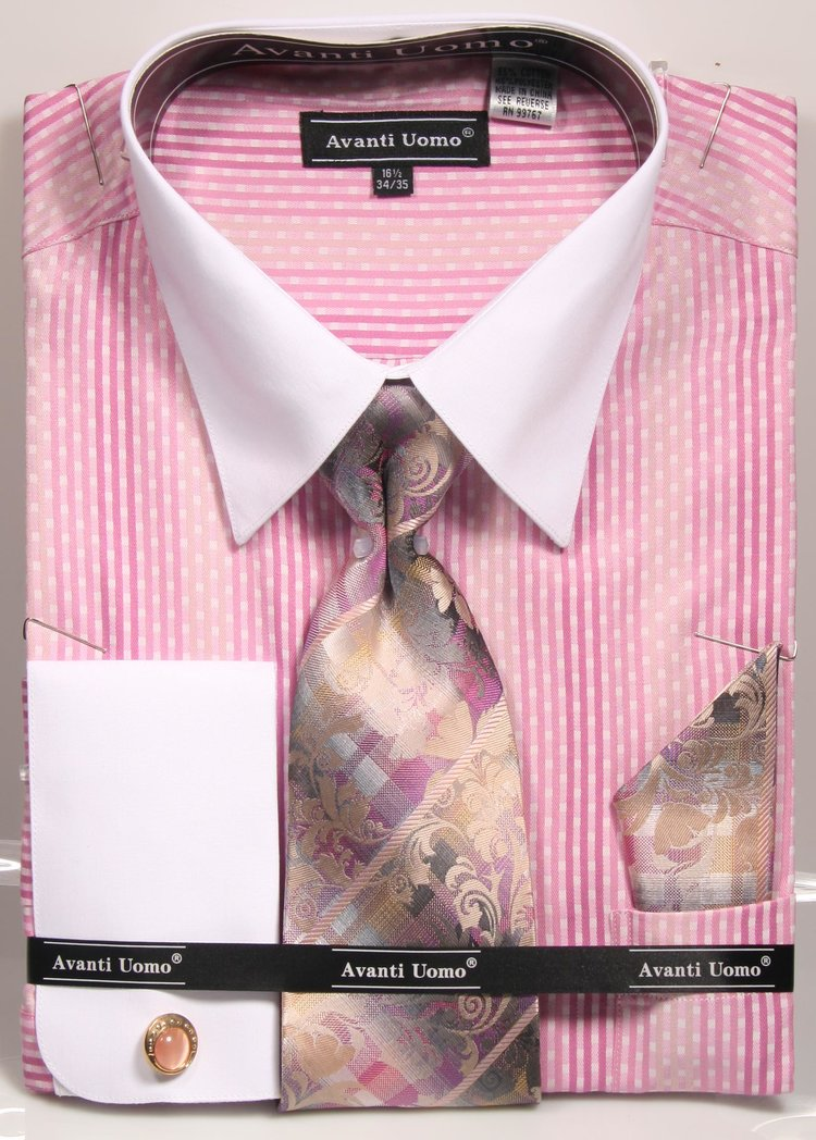 Avanti Uomo French Cuff Dress Shirt DN78M Pink