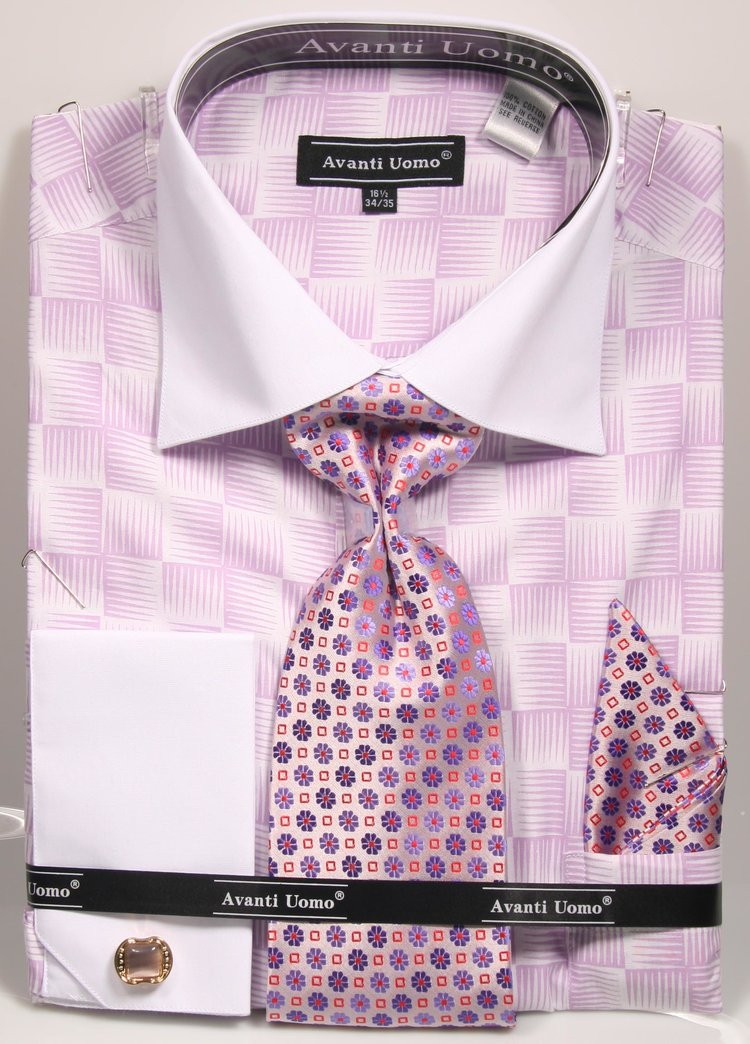 Avanti Uomo French Cuff Dress Shirt DN79M Lilac