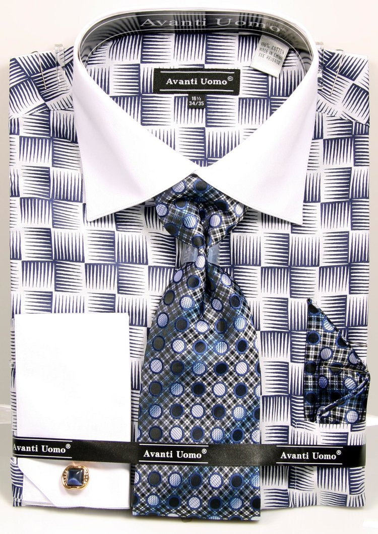 Avanti Uomo French Cuff Dress Shirt DN79M Navy