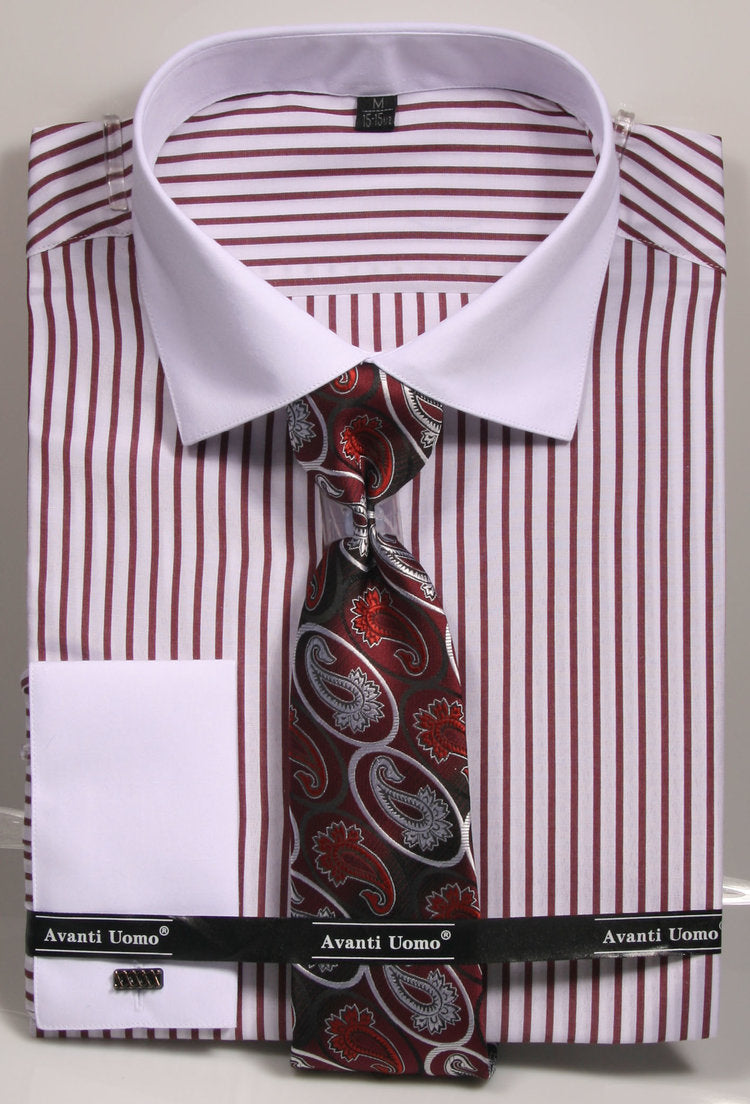 Avanti Uomo French Cuff Dress Shirt DNS02 Burgundy (Slim Fit)
