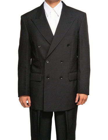 Vinci Regular Fit Double Breasted 2 Piece Suit (Black) DPP