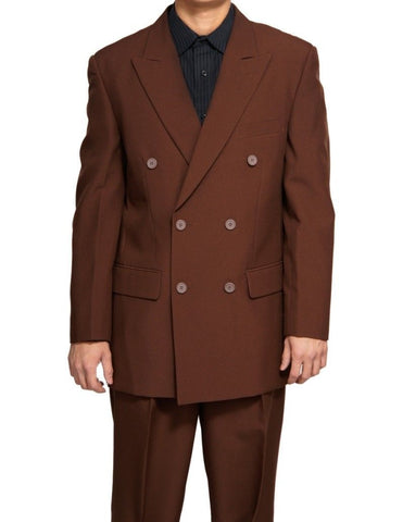 Vinci Regular Fit Double Breasted 2 Piece Suit (Brown) DPP