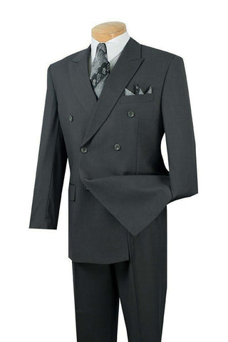Vinci Regular Fit Double Breasted 2 Piece Suit (Charcoal) DPP