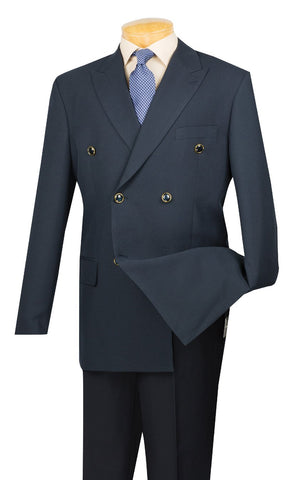 Vinci Regular Fit Double Breasted 2 Piece Suit (Navy) DPP