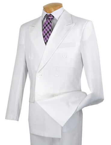Vinci Regular Fit Double Breasted 2 Piece Suit (White) DPP