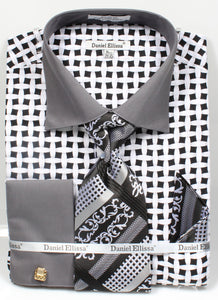 Daniel Ellissa Checker Pattern French Cuff Dress Shirt DS3782P2 Black/White