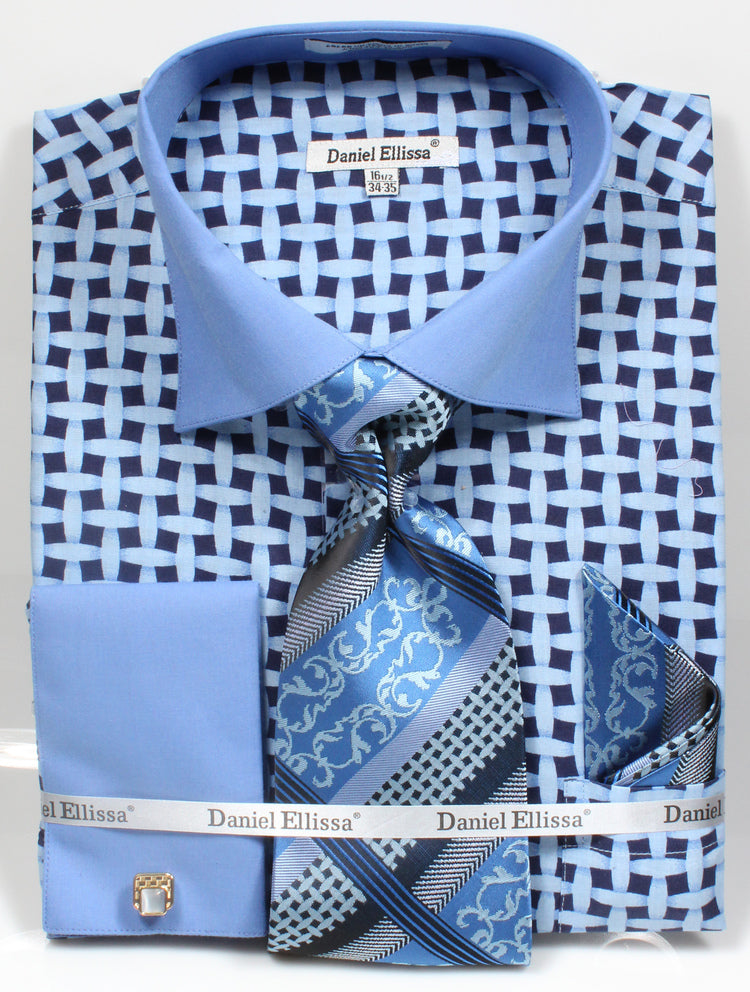 Daniel Ellissa Checker Pattern French Cuff Dress Shirt DS3782P2 Blue