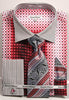 Daniel Ellissa Checker Pattern French Cuff Dress Shirt DS3786P2 Coral