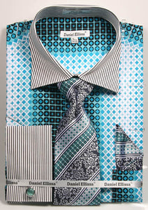 Daniel Ellissa Checker Pattern French Cuff Dress Shirt DS3786P2 Teal