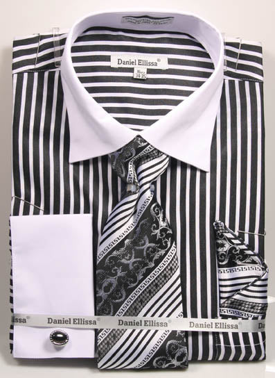Daniel Ellissa Stripe Pattern French Cuff Dress Shirt DS3787P2 Black