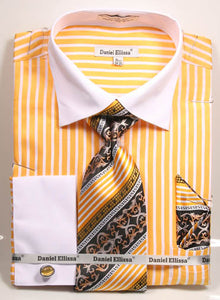 Daniel Ellissa Stripe Pattern French Cuff Dress Shirt DS3787P2 Mustard