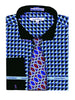 Daniel Ellissa Checker Pattern French Cuff Dress Shirt DS3788P2 Blue