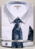Daniel Ellissa Pattern French Cuff Dress Shirt DS3792P2 Lt Blue