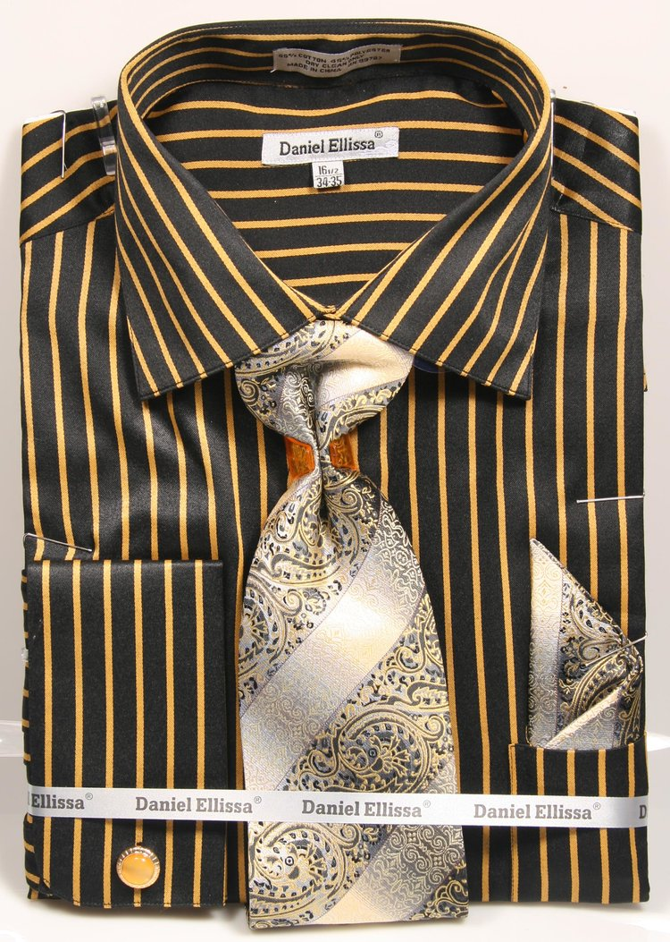 Daniel Ellissa Pinstripe French Cuff Dress Shirt DS3793P2 Black/Mustard