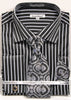 Daniel Ellissa Pinstripe French Cuff Dress Shirt DS3793P2 Black