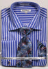 Daniel Ellissa Pinstripe French Cuff Dress Shirt DS3793P2 Royal