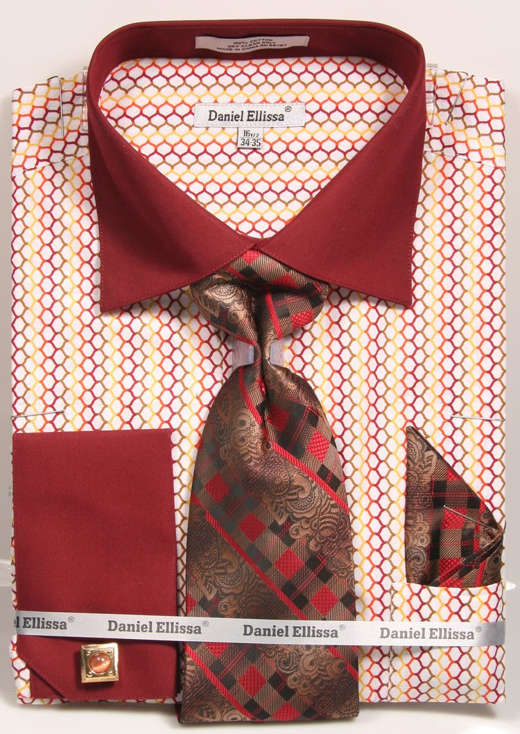 Daniel Ellissa Round Pattern French Cuff Dress Shirt DS3794P2 Burgundy
