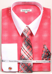 Daniel Ellissa Pattern French Cuff Dress Shirt DS3796P2 Coral