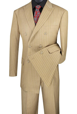 Vinci Regular Fit Double Breasted Stripe 2 Piece Suit (Camel) DSS-4