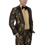 STEVEN LAND | DANTE | ITALIAN BAROQUE | BLACK & GOLD FORMAL PARTY TUXEDO | SL77-605