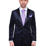STEVEN LAND | DANTE | VELVET CROSSHATCH LUREX FEATHER TUXEDO | SLIM FIT | NAVY | SL77-609
