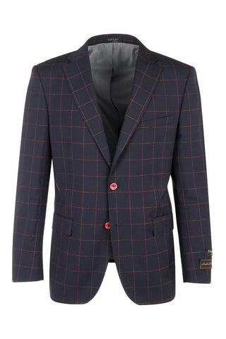 Dolcetto Navy Blue with Red Windowpane Modern Fit, Pure Wool Jacket by Tiglio Luxe F8076