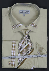 Fratello French Cuff Dress Shirt FRV4109P2 Olive