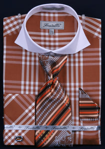 Fratello French Cuff Dress Shirt FRV4118P2 Brown
